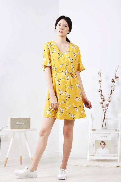 Floral Sleeve Dress (Yellow)