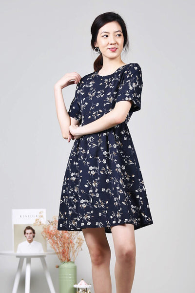 Floral Babydoll Dress (Navy)