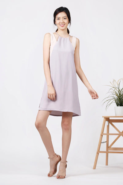 Duo-Tone Drawstring Dress (Lilac/Cream)