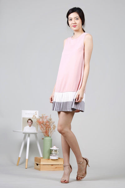 Pleated Hem Dress (Pink)