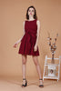 Eyelet Waist Tie Dress (Wine)