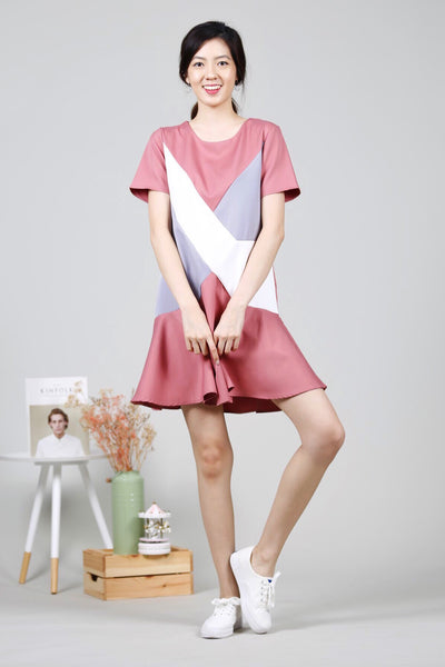 Colourblock Cross Panel Dress (Coral Pink)