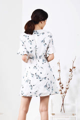 Floral Sleeve Dress (White)