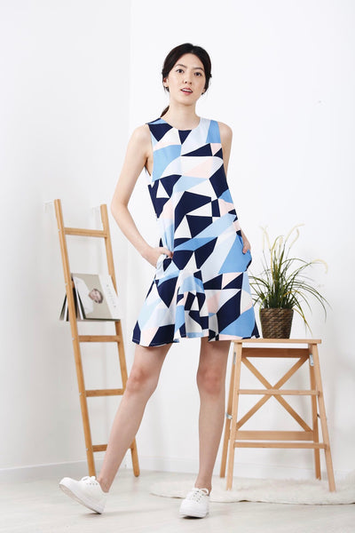 Geometric Printed Uneven Hem Dress (Blue)