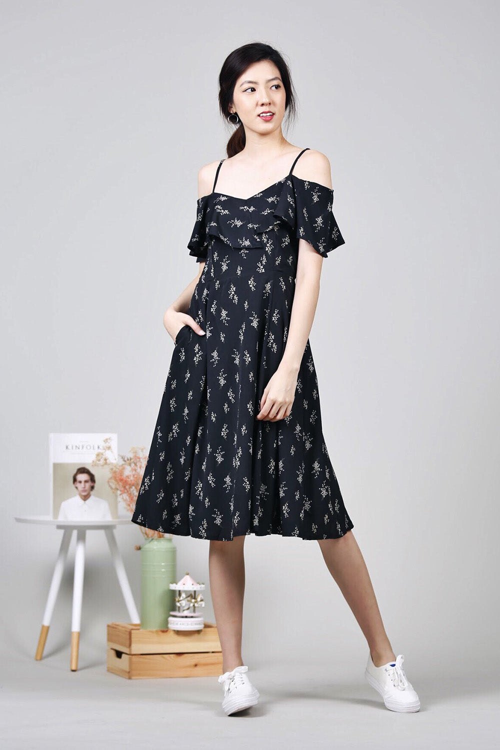 Floral Cold-Shoulder Midi Dress (Black)