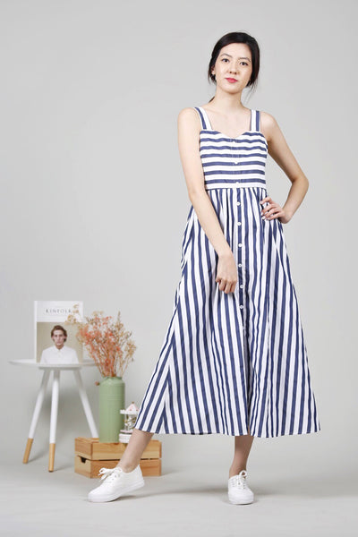 Stripes Maxi Dress (Dark Blue)