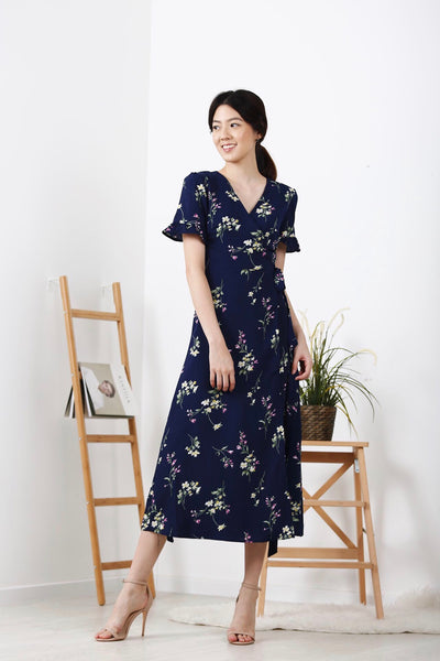 Floral Flutter Sleeve Wrap Maxi Dress (Navy)