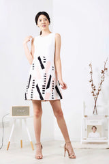 Geometric Inverted-V Shift Dress (Pink)