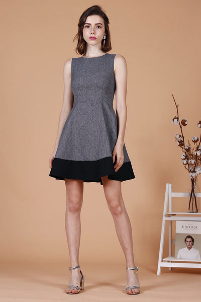 Duo-Tone Skater Dress (Grey)