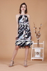 Abstract Print Midi Dress (Black)