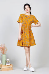 Floral Babydoll Dress (Mustard)