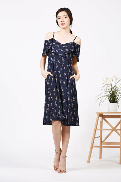 Floral Cold-Shoulder Midi Dress (Navy)