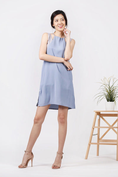 Duo-Tone Drawstring Dress (Blue/Lilac)