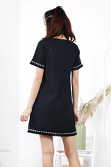 Embroidery Frayed Shift Dress (Black)