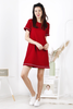 Embroidery Frayed Shift Dress (Red)