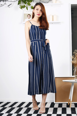 Bohemian Print Button-Down Maxi (Navy)
