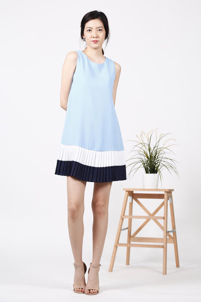 Pleated Hem Dress (Blue)