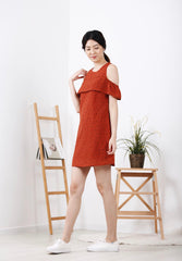 Dotted Cold-Shoulder Dress (Rust)