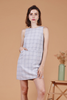 Checkered Pocket Shift Dress (Grey)