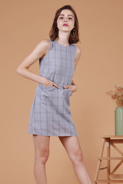 Checkered Pocket Shift Dress (Navy)