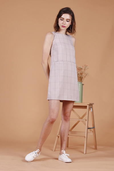 Checkered Pocket Shift Dress (Pink)