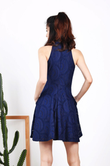 Crochet Cheongsam Dress (Navy)