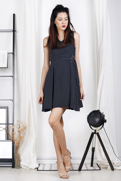 D-Ring Skater Dress (Polka Dots-Dark Navy)