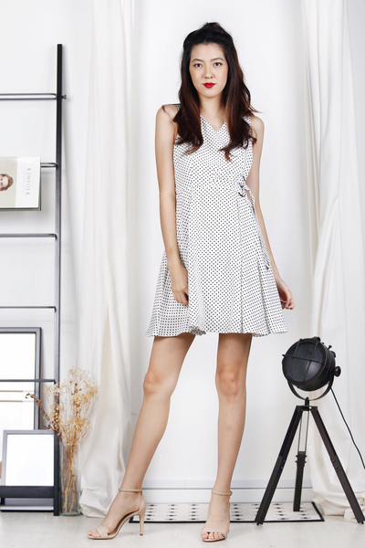 D-Ring Skater Dress (Polka Dots-White)