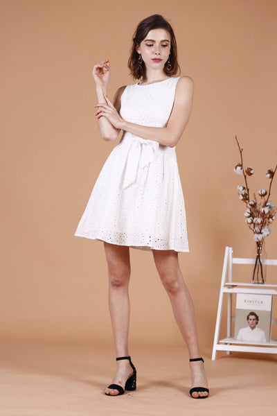 Eyelet Waist Tie Dress (White)