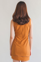 Laser Cut Bodycon Dress (Mustard)