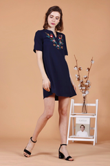 Embroidery Shift Dress (Navy)