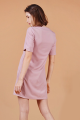 Embroidery Shift Dress (Pink)