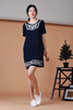 Embroidery Shift Dress (Dark Navy)