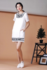 Embroidery Shift Dress (White)
