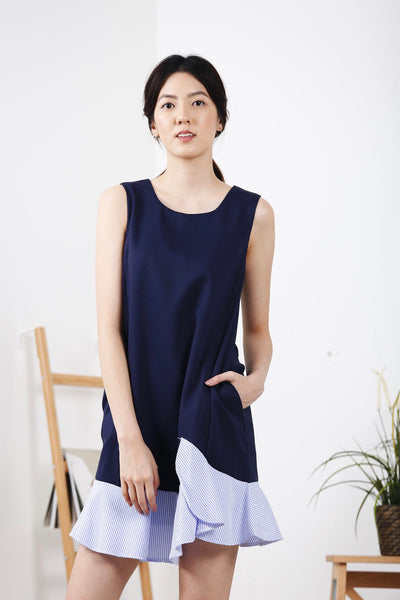 Stripes Frill Dress (Navy)
