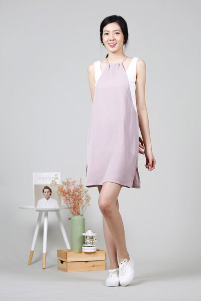 Duo-Tone Drawstring Dress (Pink/White)