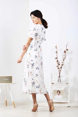 Floral Flutter Sleeve Wrap Maxi Dress (White)