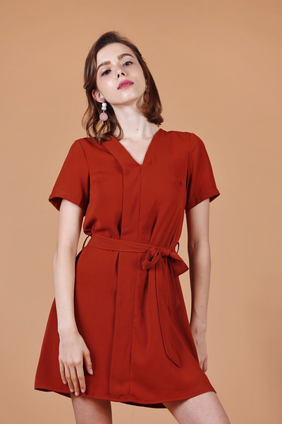 Foldover Waist-Tie Dress (Rust)
