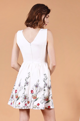 Floral Hem Skater Dress (White)