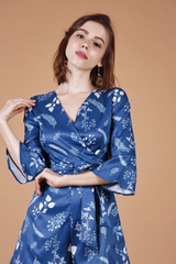 [Restocked]: Floral Wrap Playsuit (Navy)