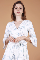 [Restocked]: Floral Wrap Playsuit (White)