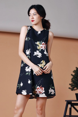 [Restocked]: Floral Shift Dress (Black)