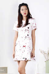 Flutter Hem Dress (Marble Swirl-Red)