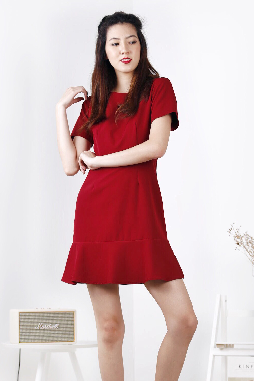 Flutter Hem Dress (Wine)