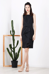 Front Twist Ruffles Dress (Black)