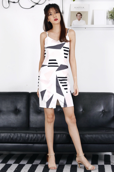 Geometric Printed Dress (Grey)