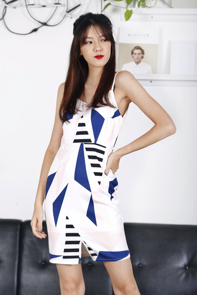 Geometric Printed Dress (Navy)