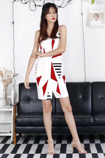 Geometric Printed Dress (Red)