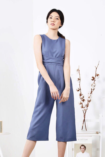 Front Twist Jumpsuit (Ash Blue)