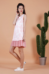 Palm Print Pleated Hem Dress (Pink)